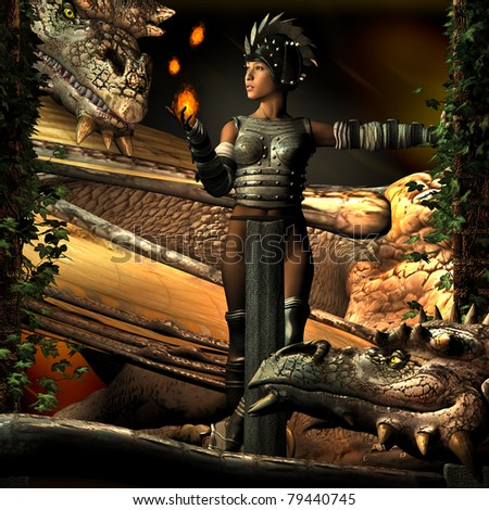 Two Dragons watch with curious intent as a beautiful Oriental Warrior woman leans against ivy covered columns juggling balls of fire. Illustration - stock photo