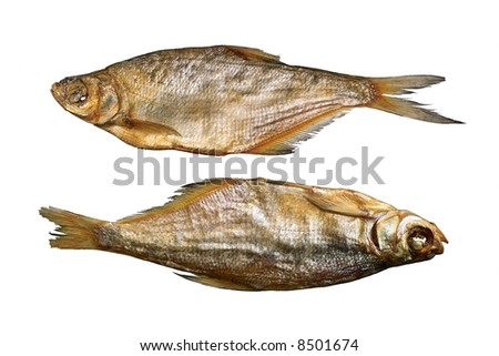 Two dried fishes. Isolated objects on a white background. - stock photo