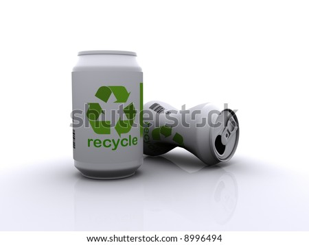 Two drinks cans one crushed, with recycle labels printed on them.