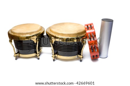 Two drums, shaker and tambourine isolated on white background - stock photo