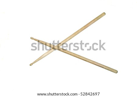 Two drumsticks crossed and isolated over white with clipping path - stock photo