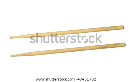 Two drumsticks isolated over white with clipping path - stock photo