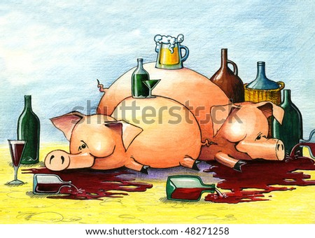 Two drunk and happy pigs lie on the floor - stock photo