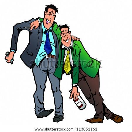 two drunk men - stock photo