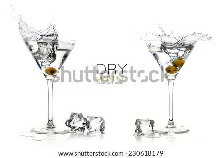 Two dry martini glasses with big splashes. Cocktails isolated on white background. Splash. Template design with sample text - stock photo