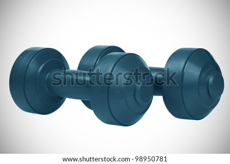 two dumb bells. isolated on a white background - stock photo