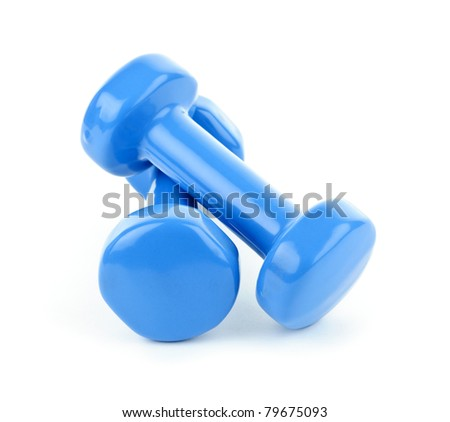 Two dumbbell free weights isolated on white background - stock photo
