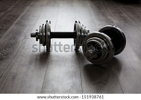 two dumbbells for fitness - stock photo