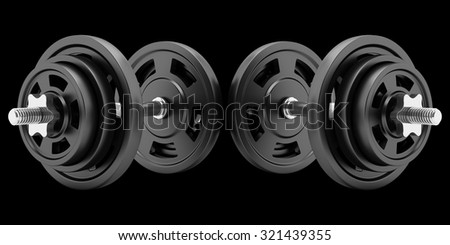 two dumbbells isolated on black background - stock photo