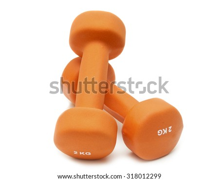Two dumbbells on a white background isolated - stock photo