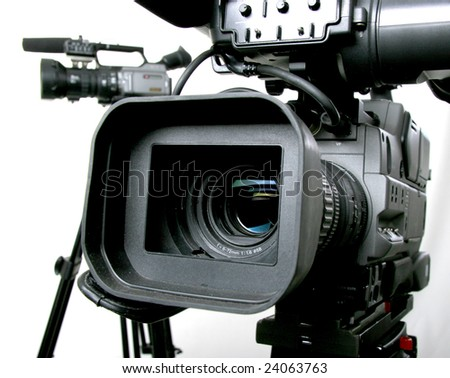 two dv-cam camcorders - stock photo