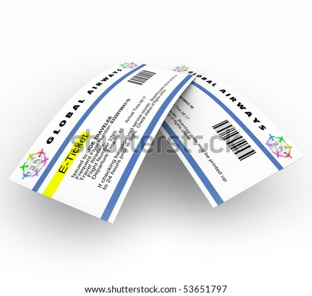 Two e-tickets for travel on an airplane - stock photo
