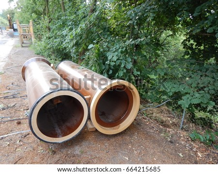 two earthenware tubes on site