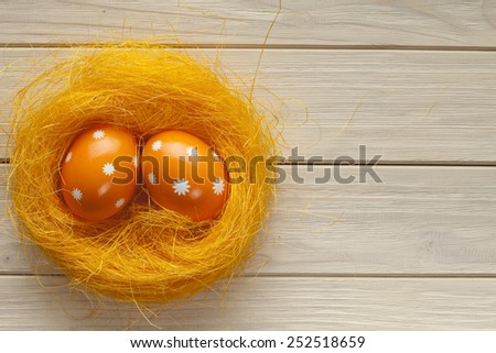 Two Easter eggs in the nest - stock photo