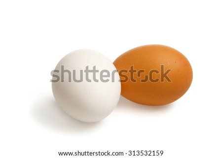 Two egg white and brown on your side isolated on white background with shadow. Image have clipping path.