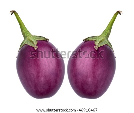 Two eggplants against a white background - stock photo