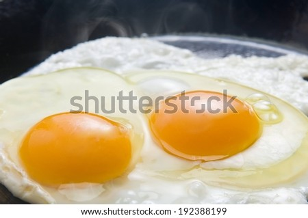 Two eggs frying in a pan, steam rising. - stock photo