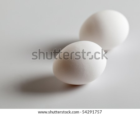 Two eggs on white background
