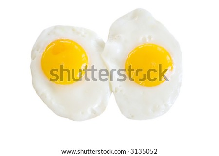 Two eggs, sunny side up. Isolated. - stock photo