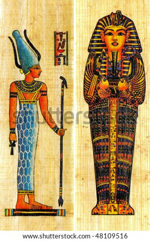 Two egyptian papyrus with elements of ceremonial ornament - stock photo