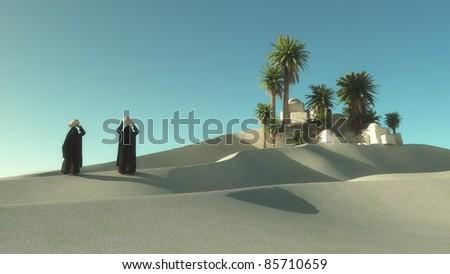 Two Egyptian women walking in Oasis dessert - stock photo