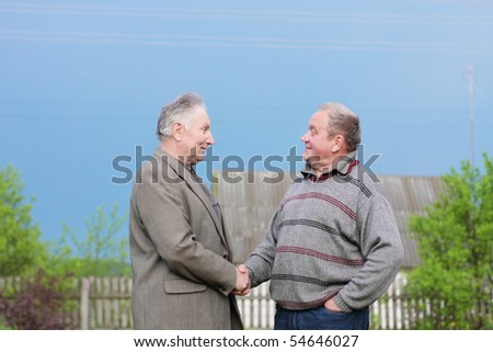 two elderly man outdoor - stock photo