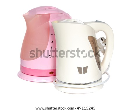 Two electric teapots on a white background