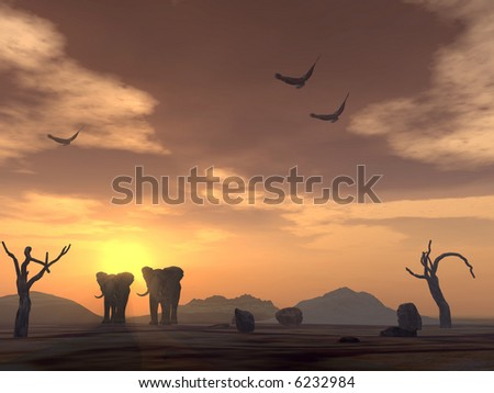 Two elephants in desert on a background of a sunset and eagles in the sky and dry tree - stock photo