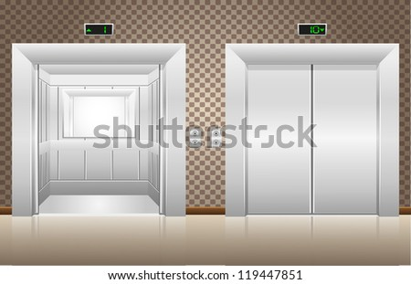 two elevator doors open and closed illustration - stock photo