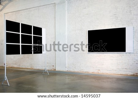 Two empty black large banners on exposition - stock photo