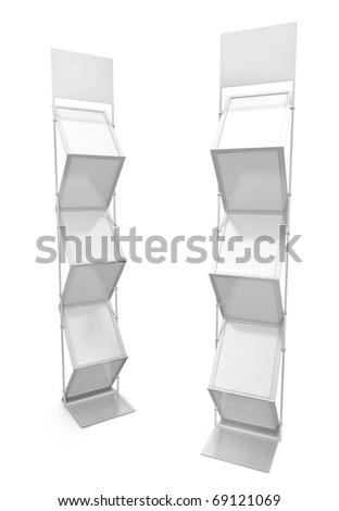 Two empty brochure stands. 3D render. - stock photo