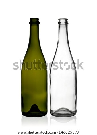Two empty champagne bottles - stock photo