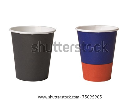 two empty cups of coffee on white background - stock photo