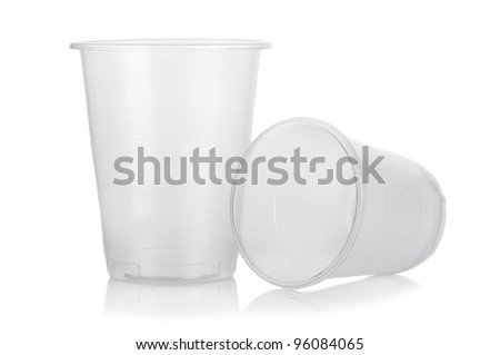 Two empty disposable plastic cup isolated on white background - stock photo