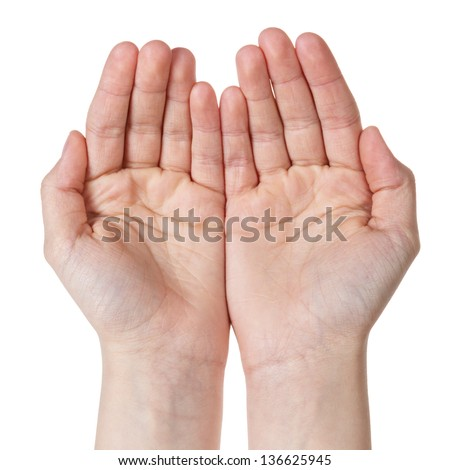 two empty female teen hands pleading, isolated on white - stock photo