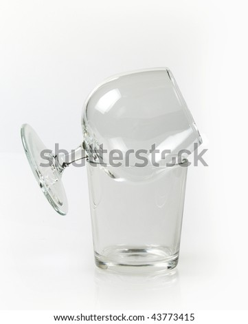 Two empty glasses on white