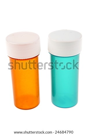 Two empty plastic pill containers