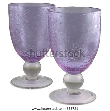 Two empty purple wine glasses. Isolated with path. - stock photo