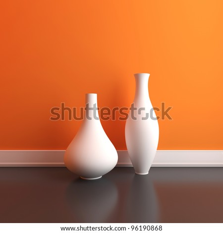 Two empty vases on the floor in an interior - stock photo