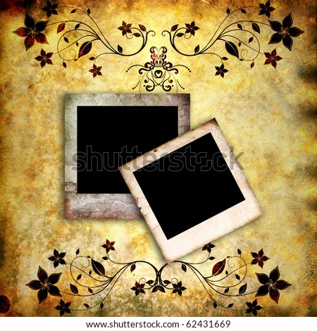 two empty vintage photo frames on grunge old paper background