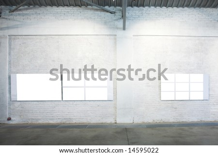 Two empty white large banners on exposition - stock photo