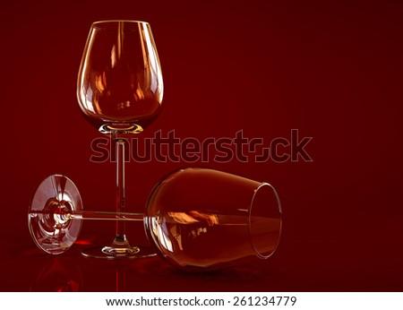 Two empty wine glass - stock photo