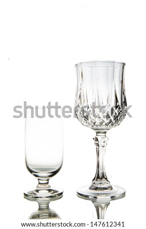 Two Empty wine glass. isolated on a white background