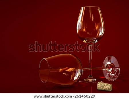 Two empty wine glass on dark background - stock photo