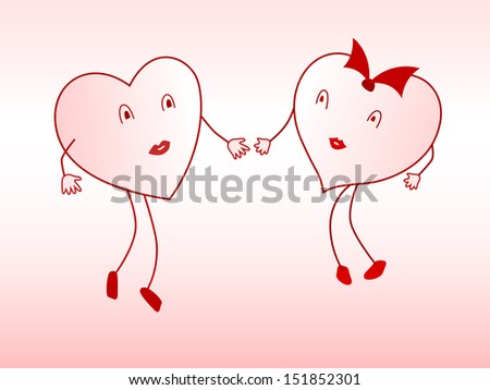Two enamored hearts are drawn to each other. Raster copy of vector illustration