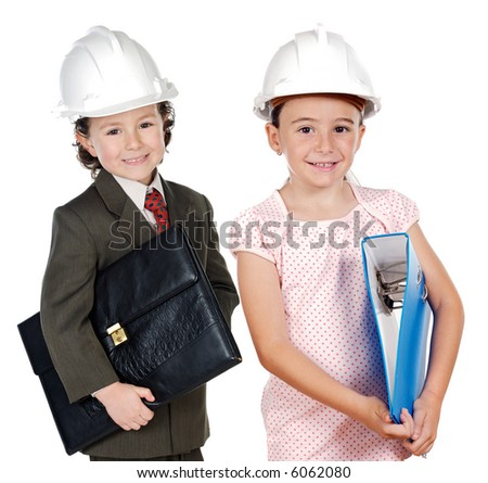 two engineer futures a over white background - stock photo