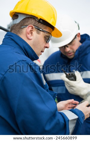 Two engineer oil industry - stock photo