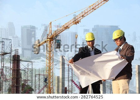 two engineer on site  - stock photo