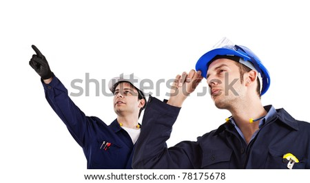 Two engineers directing works isolated on white - stock photo