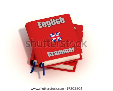 Two English grammar isolated on white background - stock photo